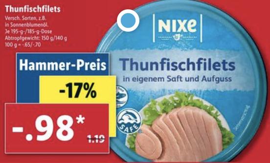 Nixe Thunfisch für 0,98€ [Lidl ab 22.06]