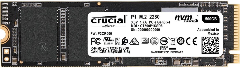 Crucial P1 500GB SSD (NVMe, M.2/PCIe, 1900 MB/s Lesen, 950 MB/s Schreiben) für 53,99€ mit Visa [eBay-Saturn]