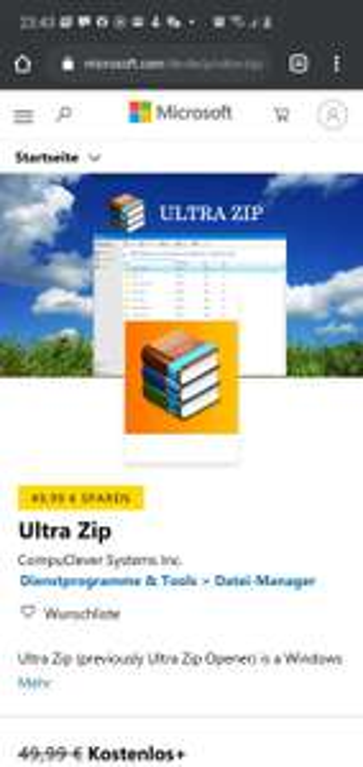 Windows store: Ultra zip kostenlos statt 49.99 4.5 sterne