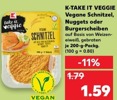 [Kaufland] K-TAKE IT VEGGIE Vegane Schnitzel, Nuggets oder Burgerscheiben für 1,59€ | [Mo-Mi] Erdnüsse für 0,69