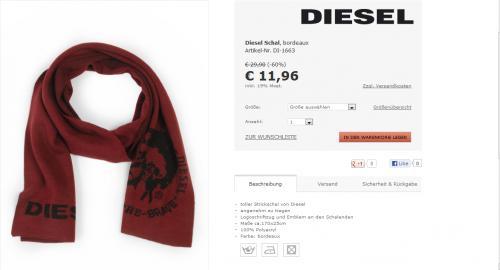 Diesel Schal bordeaux 11,96€+4,90 € Versand (6% Qipu möglich, 10€ Newslettergutschein mit MBW 100€)