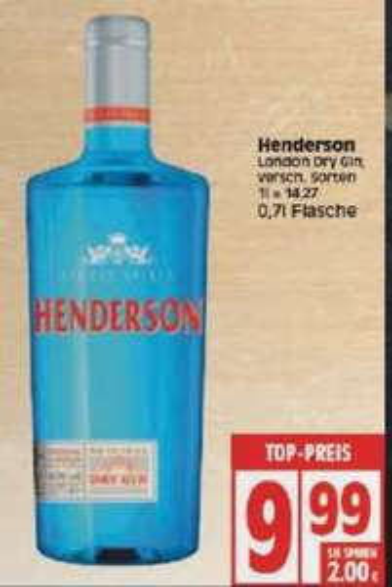 [Lokal Berlin, evt. bundesweit] Henderson London Dry Gin 0,7 Liter (1l = 14,27 €)