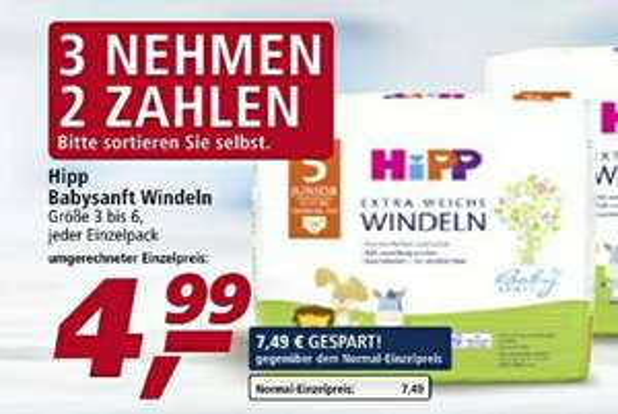 Hipp Windeln Gr. 3 - 6 | Real Märkte | Offline | Gr. 3 = 4,99€ statt 7,15€