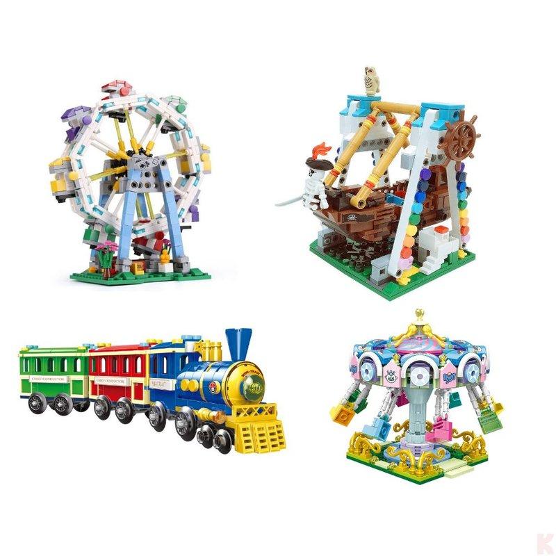 Klemmbausteine Set - Riesenrad + Schiffschaukel + Dampflok + Karusell