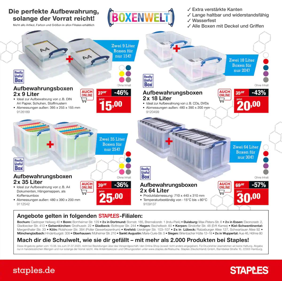 [Offline] Really Usefull Boxen bei Staples in NRW und SH z.B. 64 Liter 30€ für ein Paar Boxen