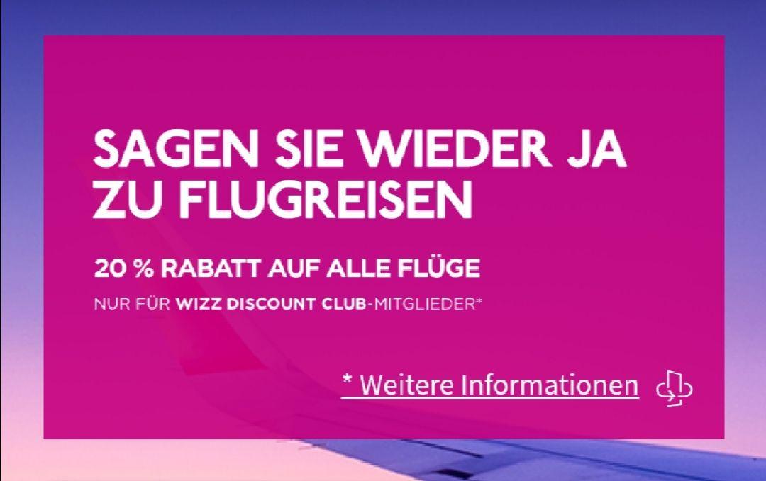 20% auf alle Flüge für WizzAir Club Mitglieder