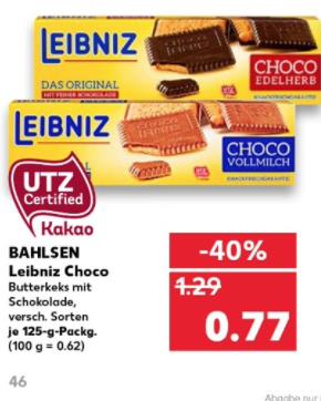 [Kaufland] Bahlsen Leibniz Choco Keks versch. Sorten 0,77