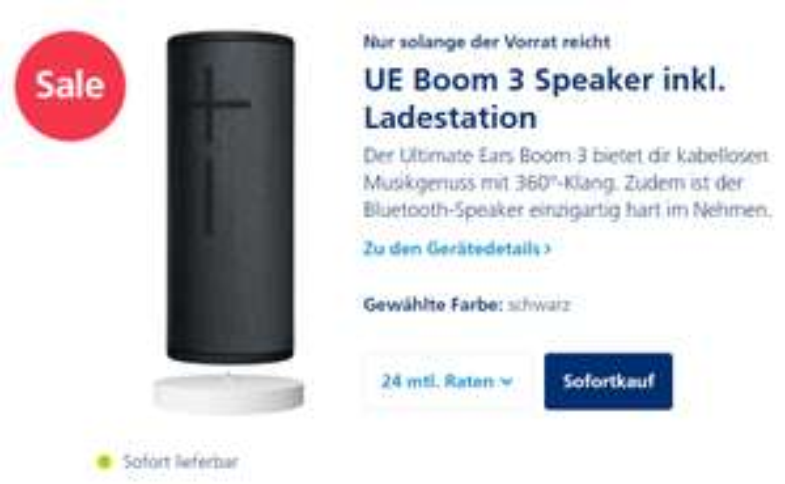 UE Boom 3 Speaker inkl. Ladestation (Power-Up)