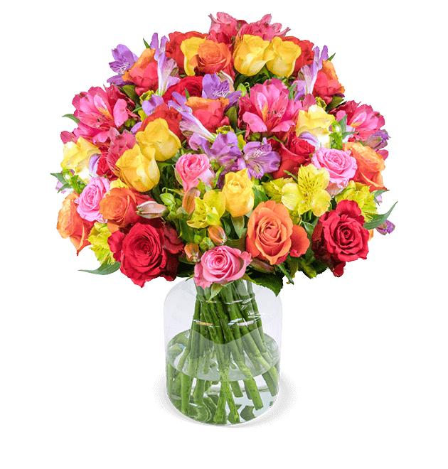 Rosenglück XXL - bunter Rosenstrauß mit Inkalilien (35 Stiele & über 200 Blüten) 50cm Länge