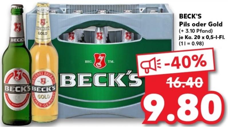 [Kaufland] ab 18.06 Becks Pils oder Gold für 9,80€ Mönchshof zu 11,80€ und Budweiser zu 12,80€ jeweils zzgl. Pfand