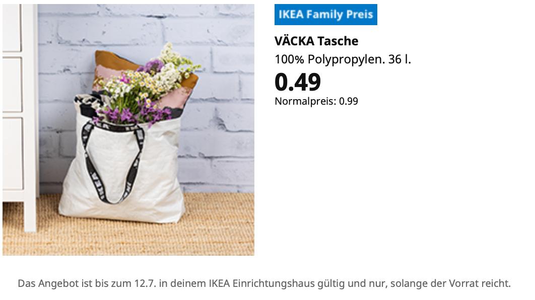 IKEA VÄCKA Tasche als limitierte Sonderausgabe in Weiß (Family Mitglieder)