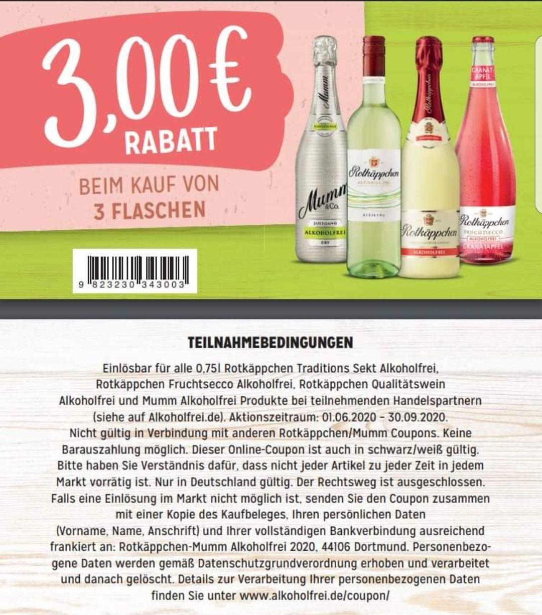 0,75€ Coupon bei Kauf von Rotkäppchen/Mumm alkoholfrei / 3€ bei Kauf von 3 Flaschen