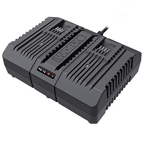 Worx WA3883 Dual-Ladegerät – Akku-Ladegerät für Worx Geräte mit 20V – 2 x 2,0 Ah