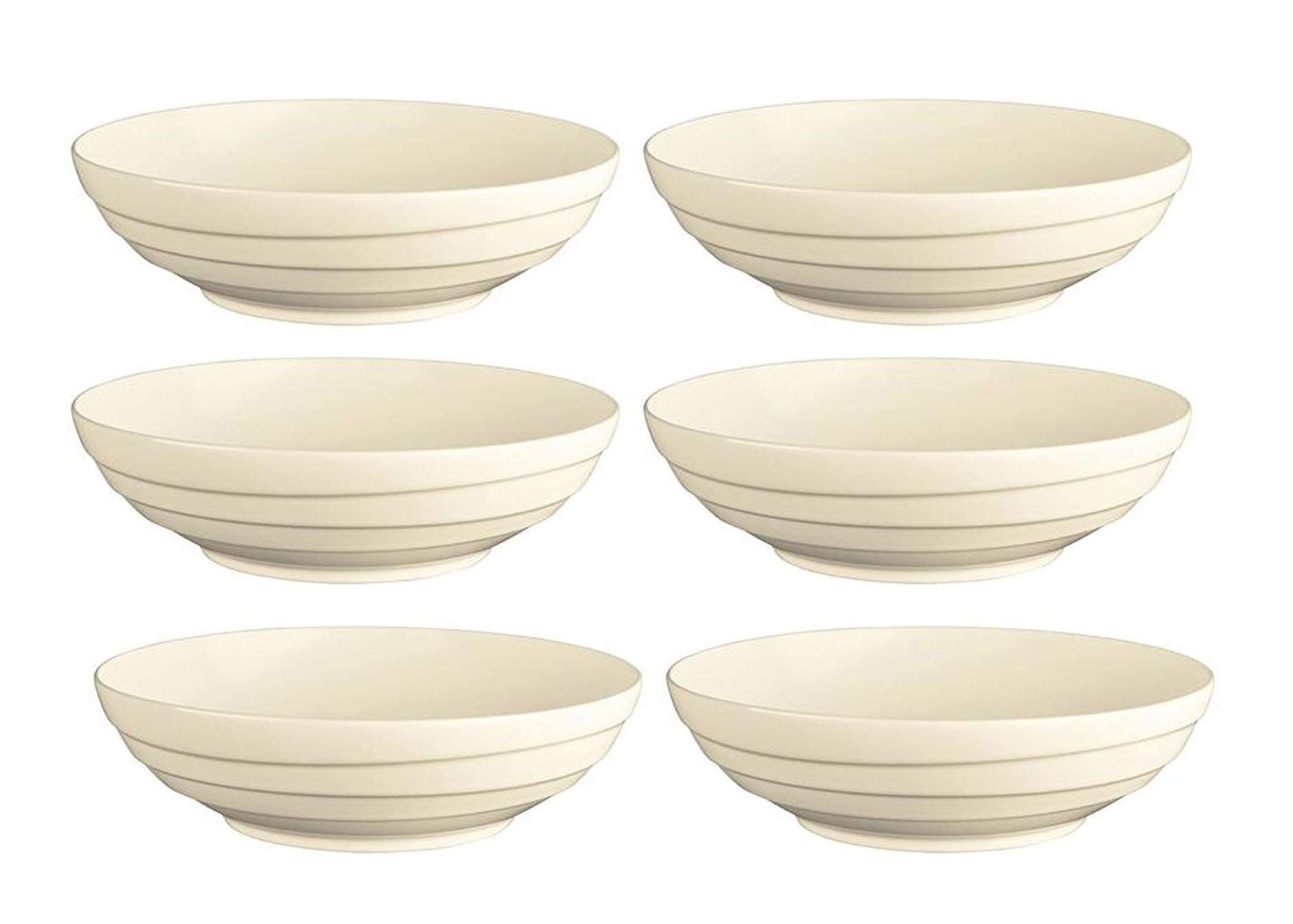 6x Jamie Oliver Waves Set mit großen runden Schalen - 21 cm - weiß - modernes Keramik-Porzellan