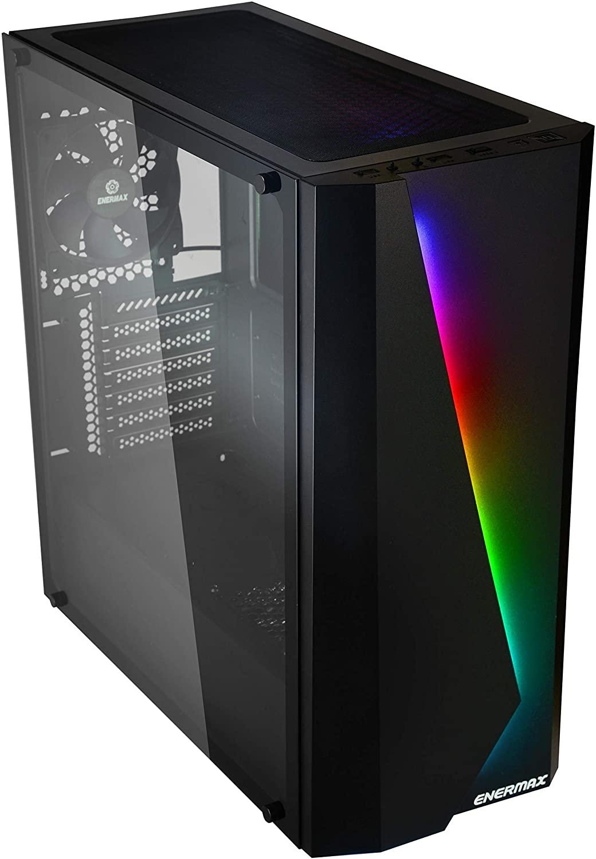 PC-Gehäuse Enermax Makashi MK50 (bis E-ATX, inkl. 120mm-Lüfter hinten, bis zu 8 Lüfter, Glasfenster, Kabelmanagement, RGB-Streifen)