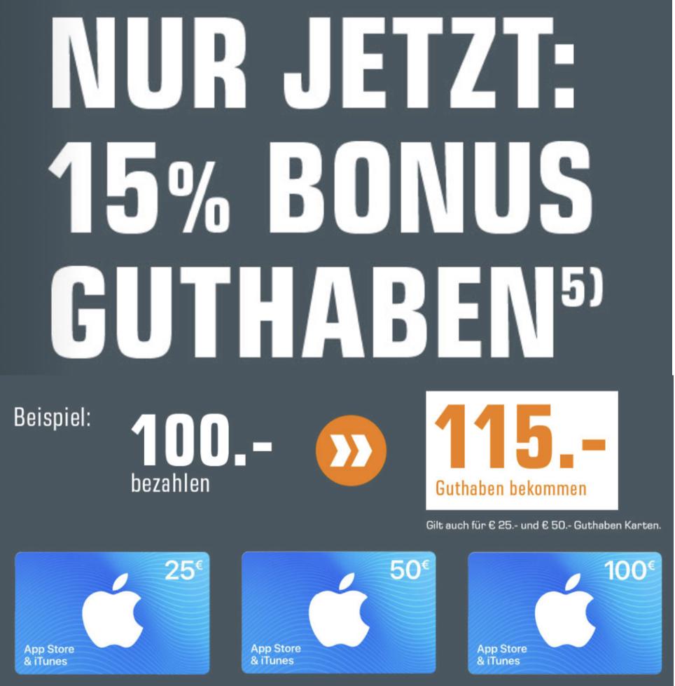 15% zusätzliches Guthaben für iTunes & App Store Geschenkkarten - 25€, 50€ u. 100€ - ab 17.06. [Saturn]