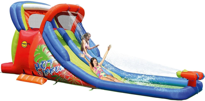 Hüpfburg HappyHop Wasserrutsche Hot Summer Art. 9129 inkl. Gebläse SW-3E | 12,7m² Grundfläche, mit integrierter Wasserpistolen, Kletterwand