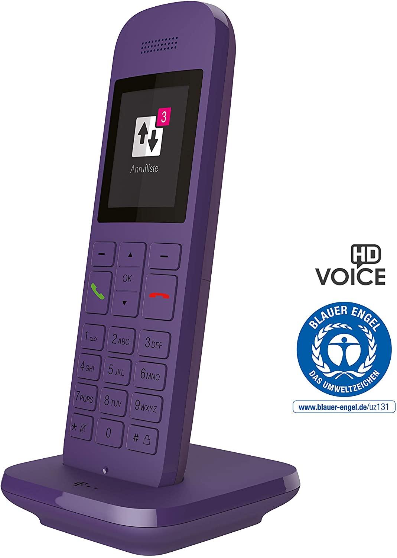 Telekom Speedphone 12 lavendel (DECT CAT-iq 2.0, kompatibel zu aktuellen Speedports oder FRITZ!Boxen, Telefonbuchzugriff, HD Voice)