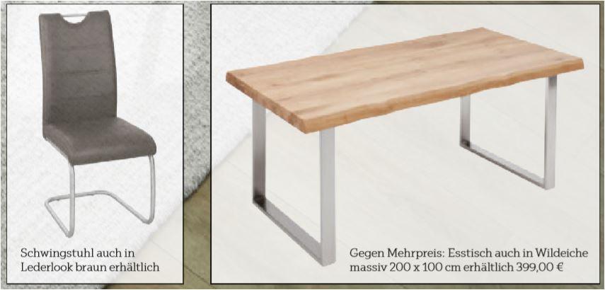 Esstisch Akazie Massiv, ca. 200 x 100cm, Tischgestell Edelstahl gebürstet für 299 Euro / Schwingstuhl, Lederoptik für 39,90 Euro [XXXLutz]