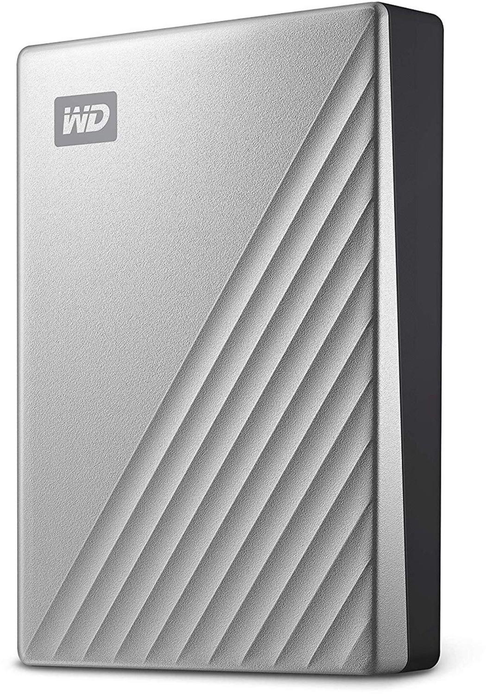 """Western Digital My Passport Ultra 4TB (2.5"""", USB-C, Adapter auf USB-A, ~120MB/s, 256bit AES-Verschlüsselung, 110x81.6x20.96mm, 230g)"""