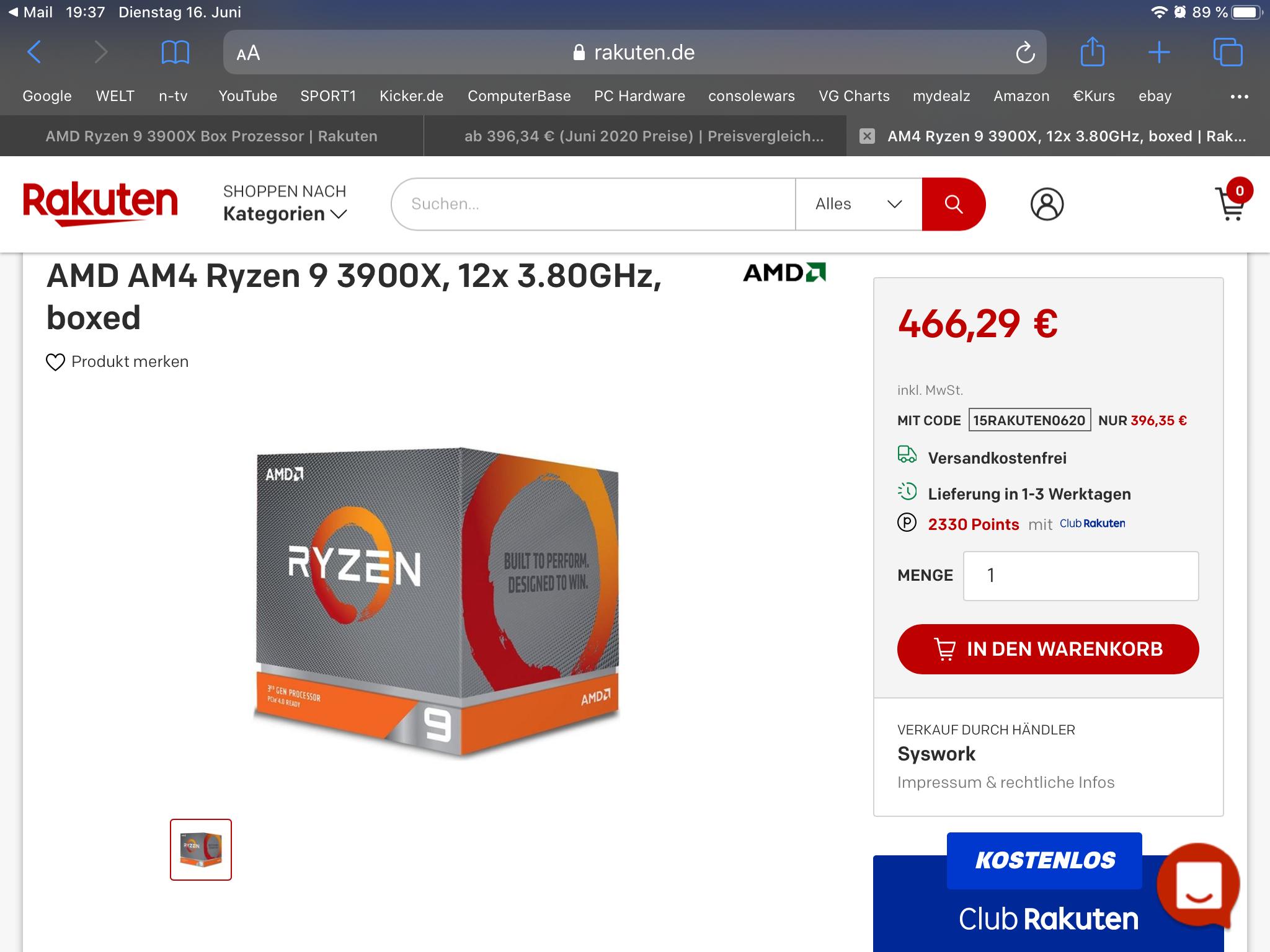 AMD Ryzen 9 3900X boxed mit Kühler