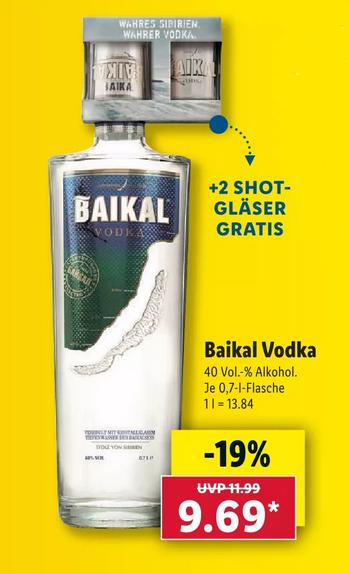Baikal Vodka 0,7L 40% + 2 Shot Gläser gratis ab 26.06. für nur 9,69€ [LIDL]