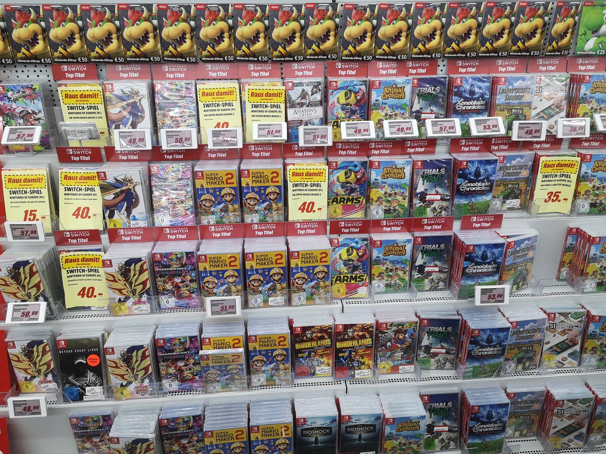 [Lokal MediaMarkt Emden] Diverse Switch Spiele u.a. Mario Tennis 35€, Super Mario Maker 2 40€, Yoshis Crafted World 35€ etc.