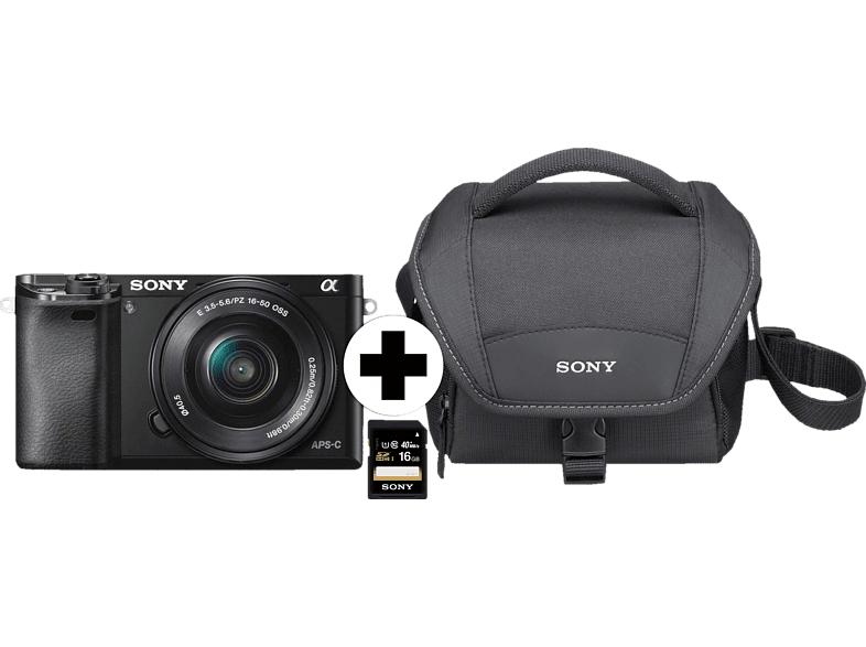 Sony Alpha 6000 + Objektiv 16-50mm + Tasche + SD-Karte