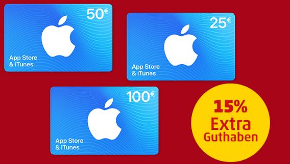 [Penny Kartenwelt] 15% Extra Guthaben für Apple AppStore & iTunes Geschenkkarten