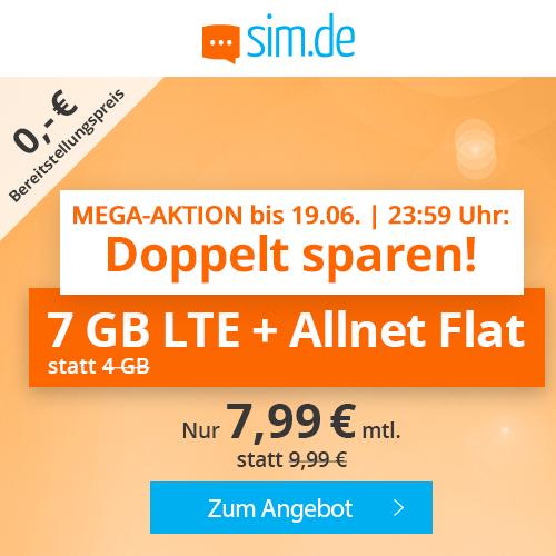 7GB LTE (50 Mbit/s) Tarif von sim.de für mtl. 7,99€ + Allnet- & SMS-Flat (monatlich kündbar / 24 Monate; Telefonica-Netz)