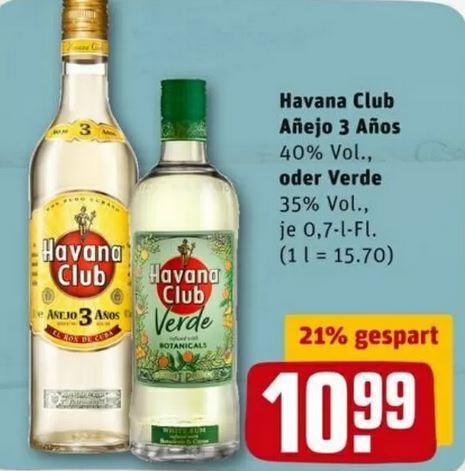 REWE verschiedene Sorten Rum: Havana Club und Bacardi 0,7l für 10,99 EUR