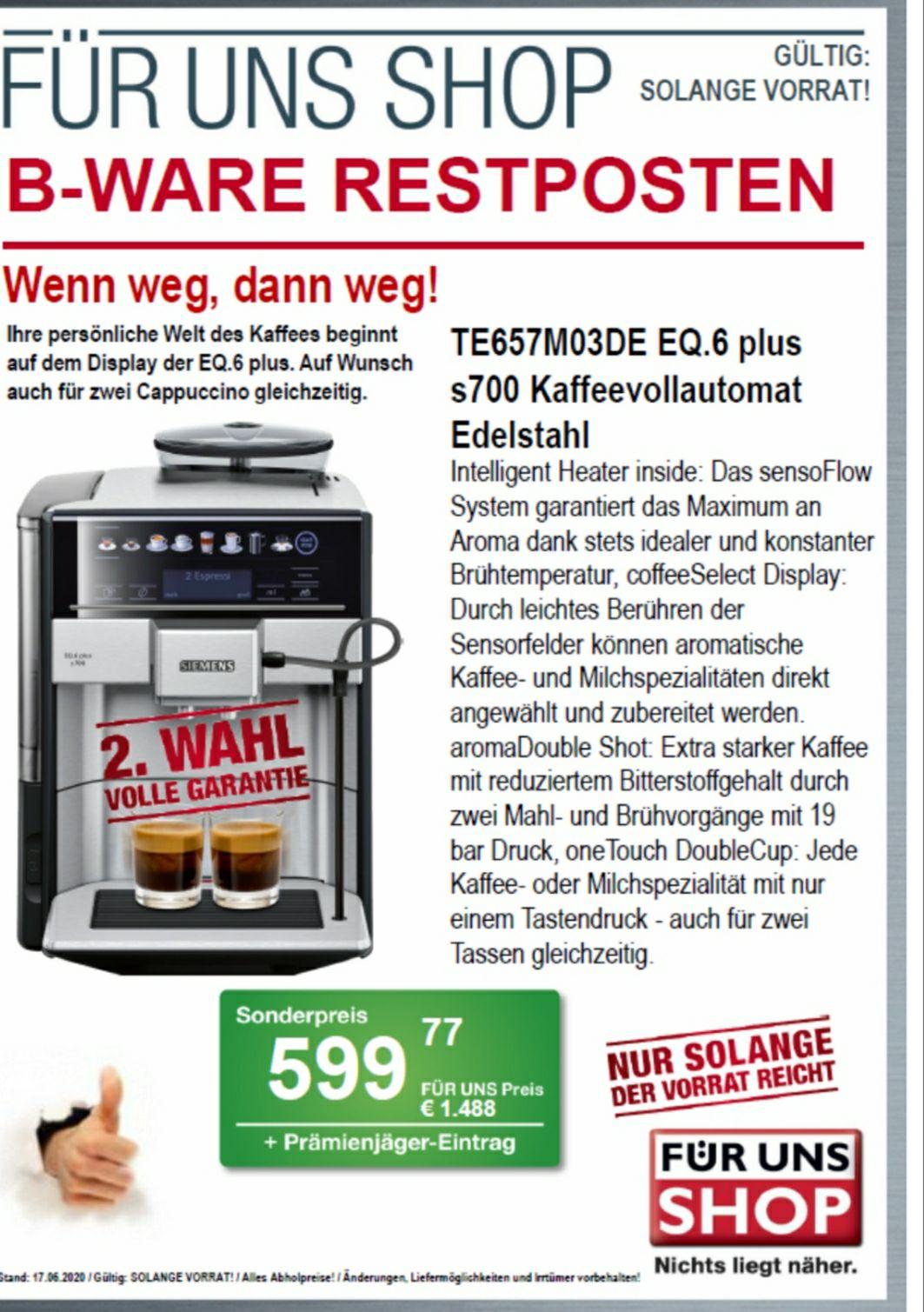 [Für Uns Shop DD] Siemens EQ6 Plus S700 B-Ware