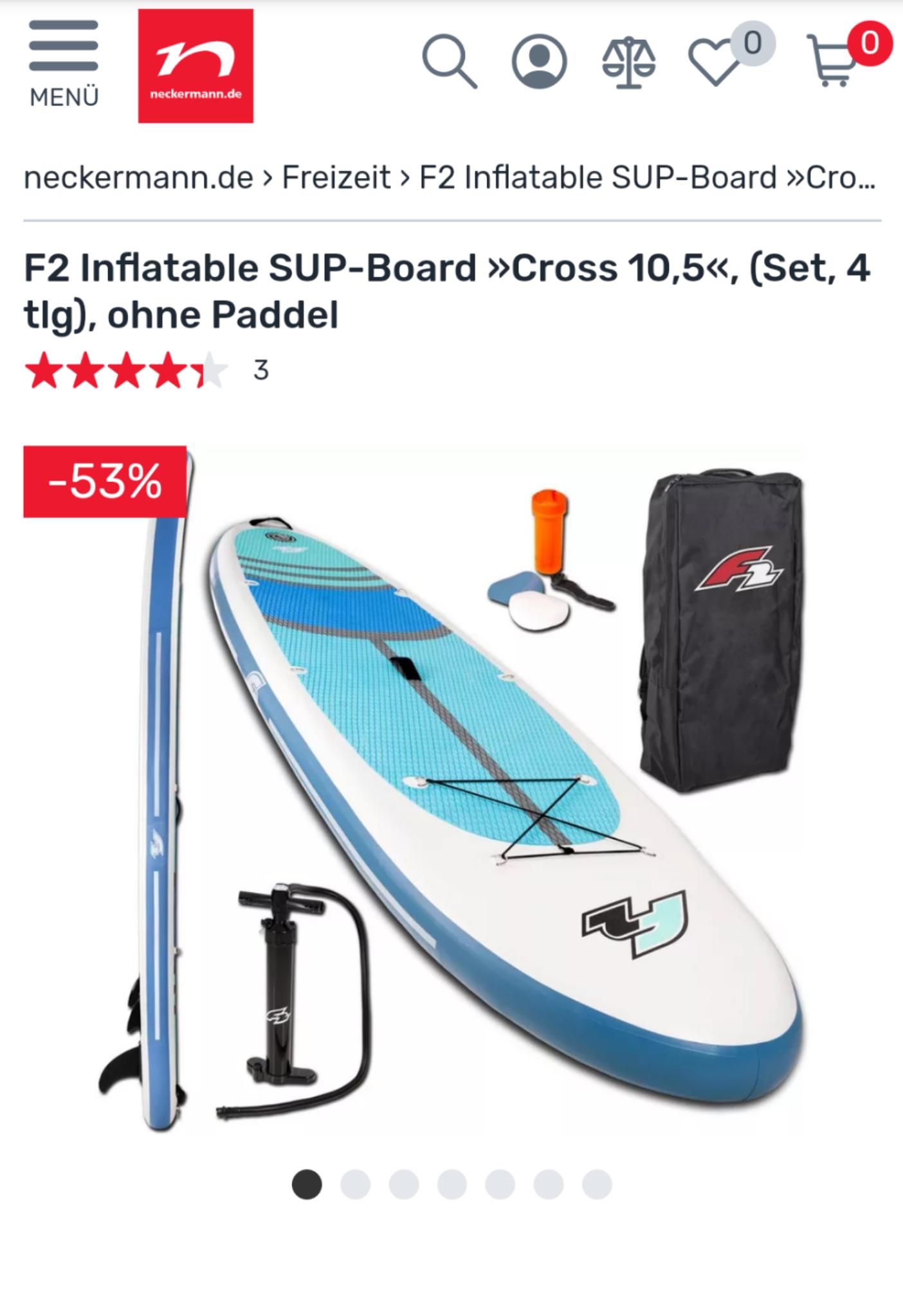 [Neckermann] F2 Inflatable SUP-Board »Cross 10,5«, (Set, 4 tlg) 206 € (Neukunden, sonst +5.95€ Versand), manchmal mit Paddel