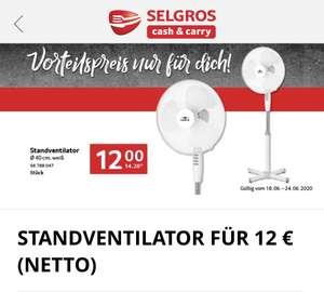 [SELGROS] Lentz Standventilator weiß 40cm 3 Stufen