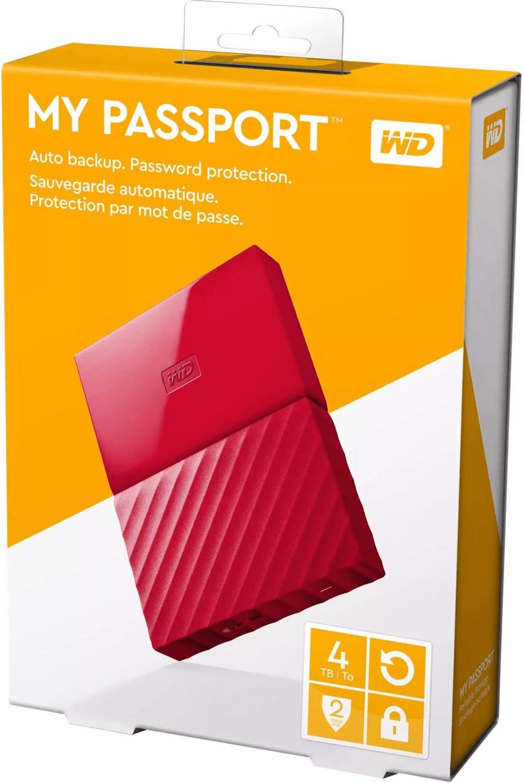 "Western Digital WD My Passport Portable 4TB rot/orange (2.5"", USB 3.0 Micro-B, 256bit AES-Verschlüsselung, 110x81.5x21.5mm, 250g)"