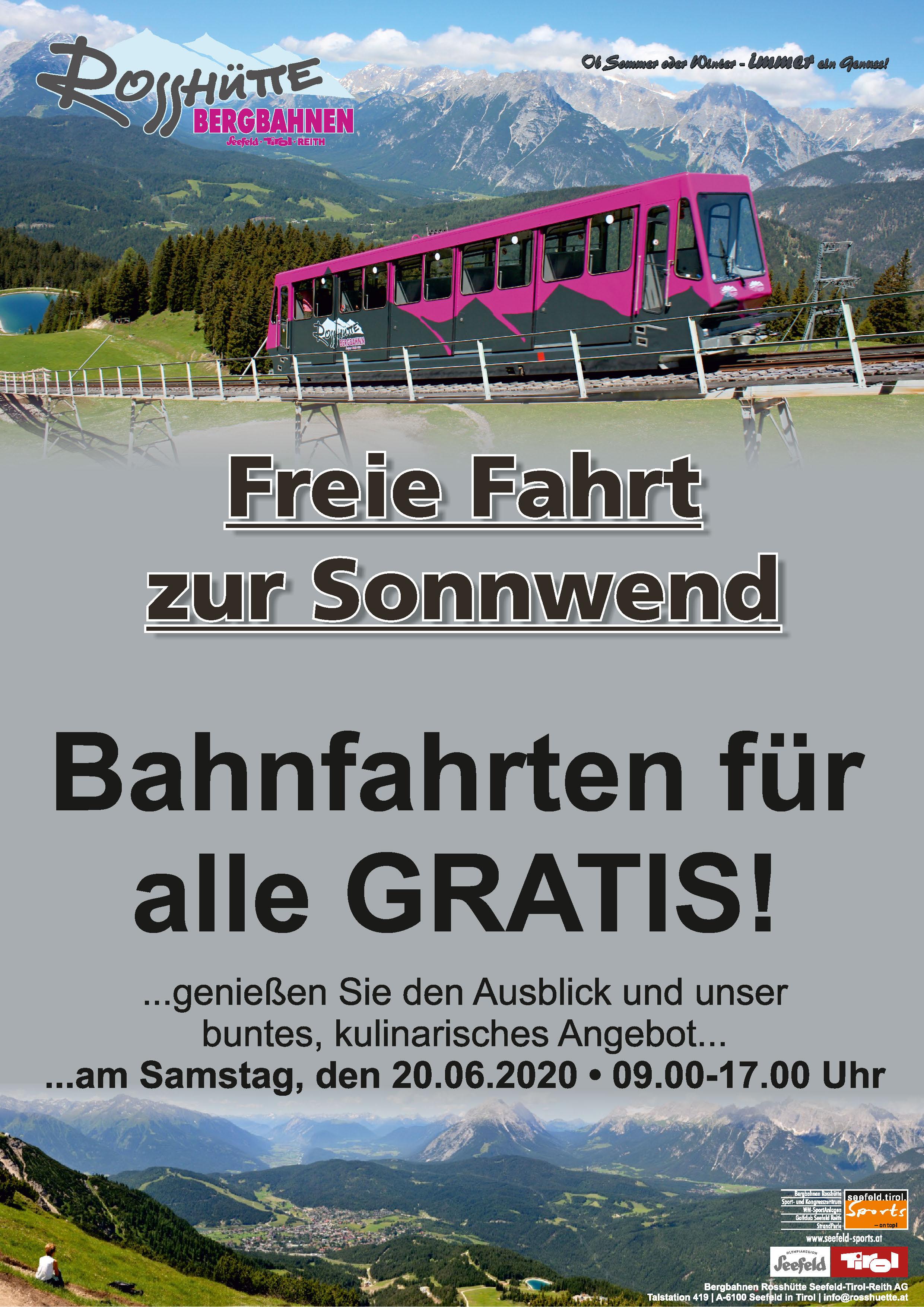 Am 20.06 kostenlos auf den Berg in Seefeld / Tirol