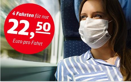 Sommer-Ticket Deutsche Bahn 4 Fahrten 70 Euro (bis 17 Jahre) 90 Euro (bis 26 Jahre)