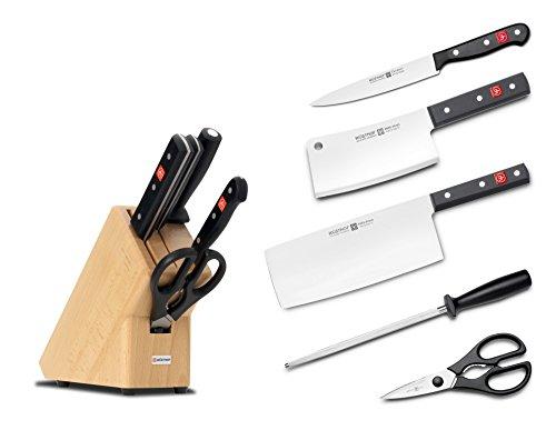 Wüsthof Messerblock 9835-8, 5-teilig, massiver Holzblock, Küchenmesser Set inkl. 3 Kochmesser, Wetzstahl und Schere