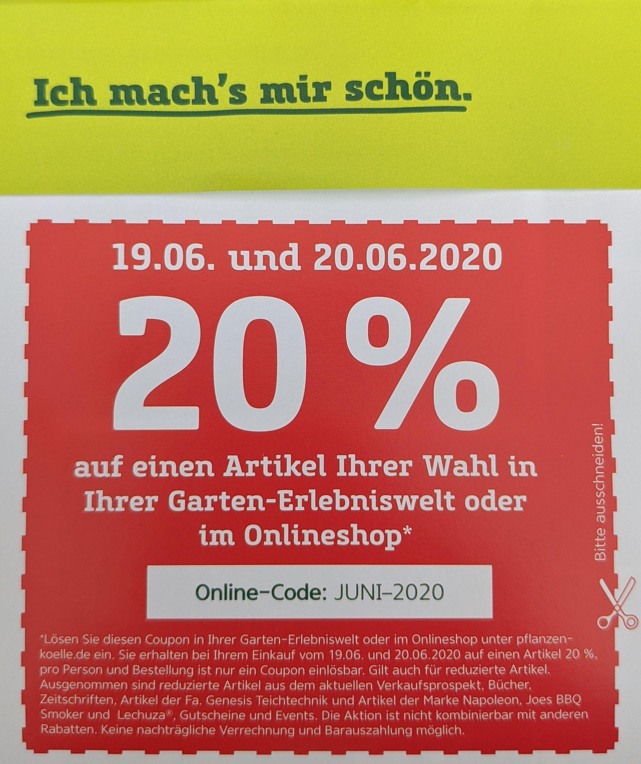 Pflanzen Kölle 20% pro Person auf ein Produkt der Wahl offline + online