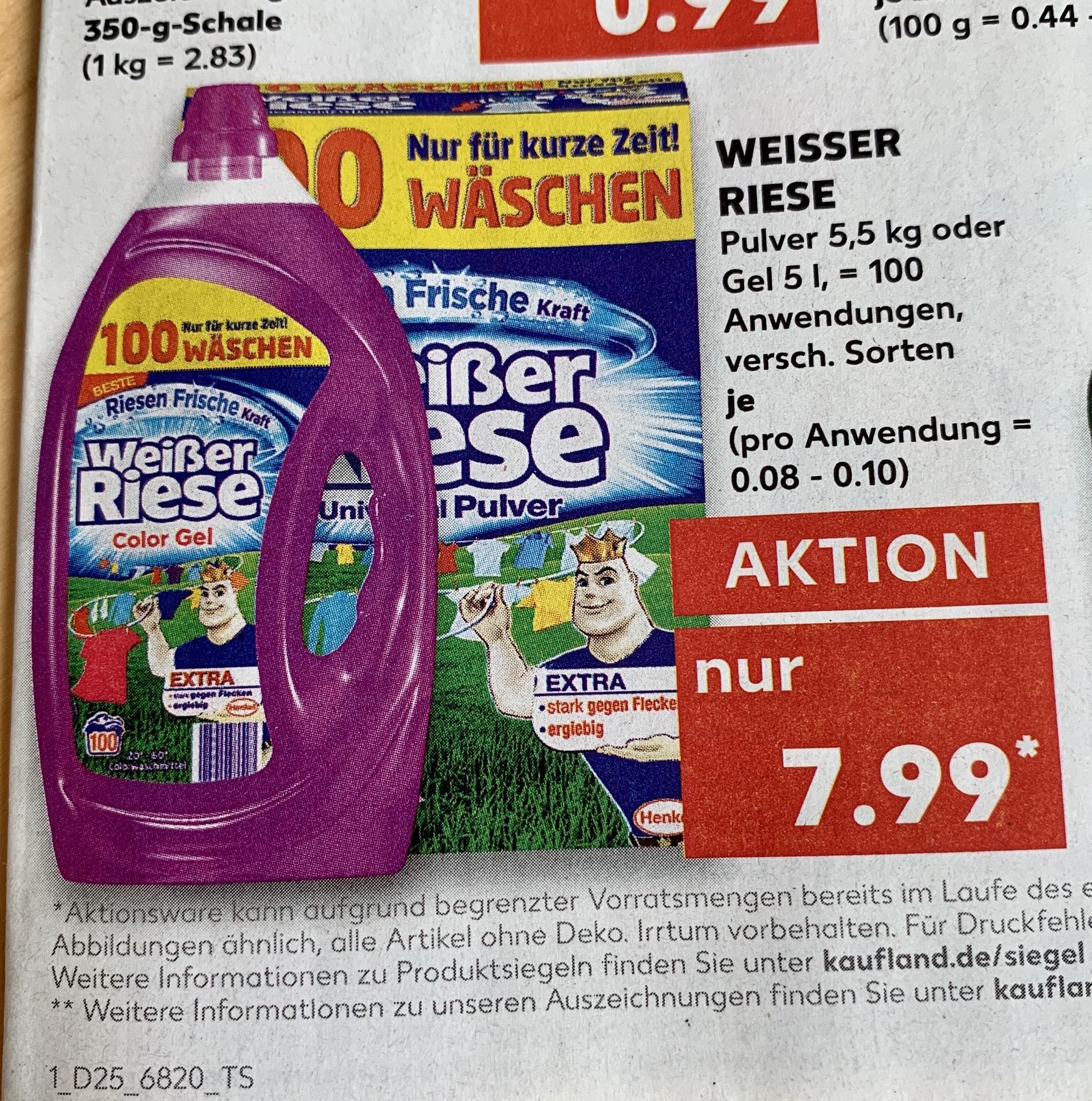 [Kaufland] Weißer Riese Waschpulver -Bestpreis-, Preis pro Waschladung 0,08 €