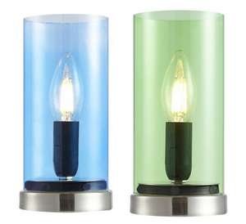 """Nino Leuchten Tischleuchte """"LAIK"""" (E14 Fassung, Höhe 22 cm, Glas/Metall, In blau und grün verfügbar) [Hardeck.de]"""