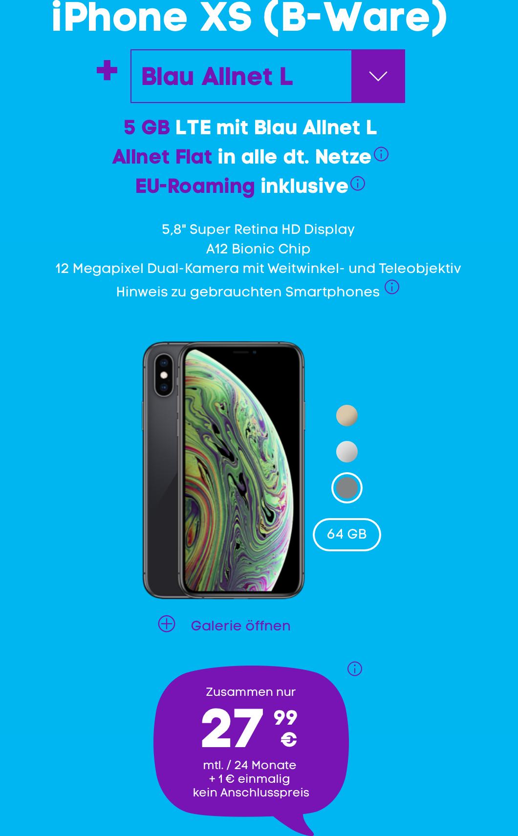 B-Ware: Apple iPhone XS (64 GB) für 1 € + 5 GB Blau Allnet-Flat L für 27,99 € mtl.
