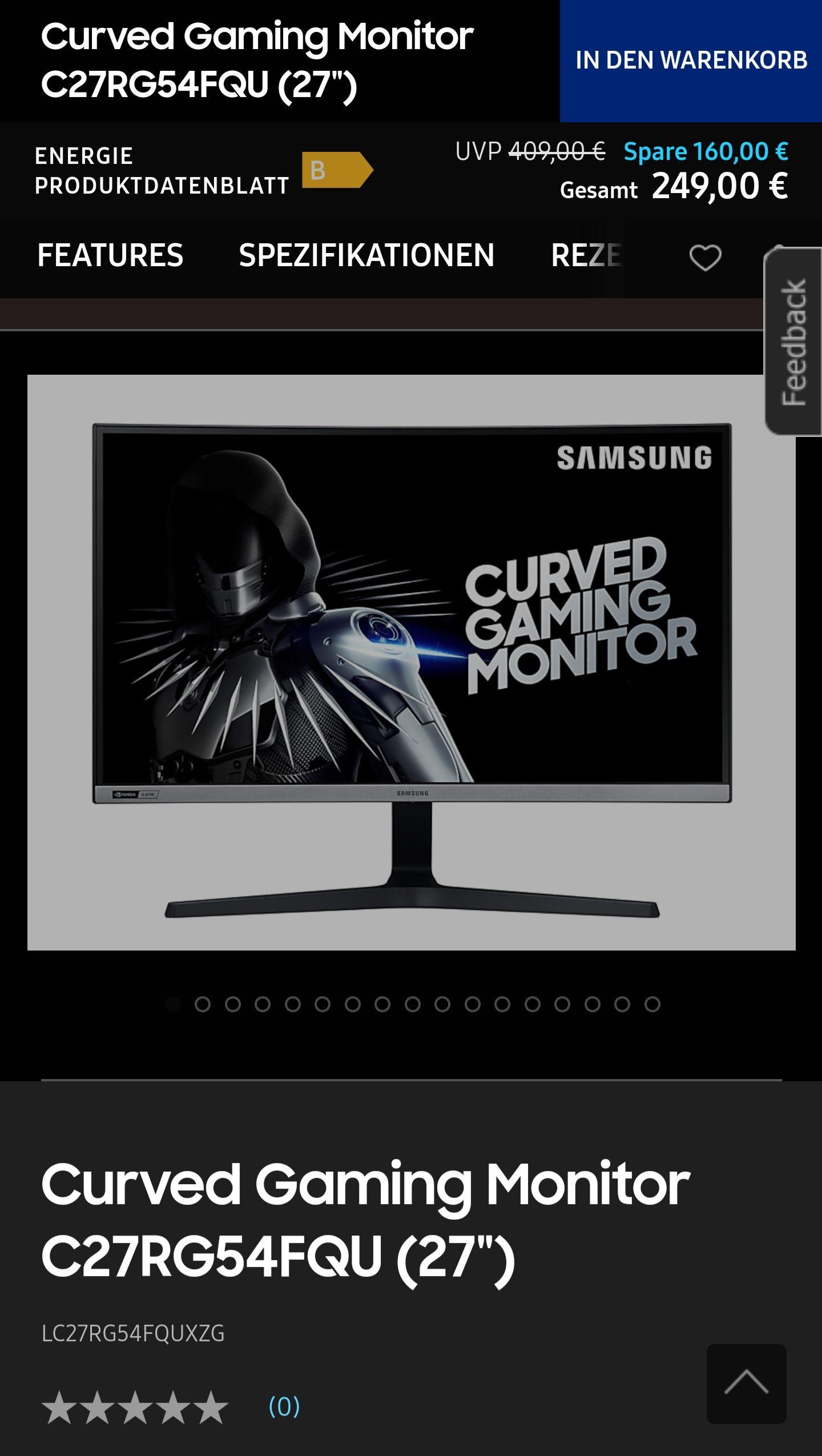 Samsung Curved Gaming Monitor 240hz FHD C27RG54FQU 27 Zoll G-Sync Kompatibel