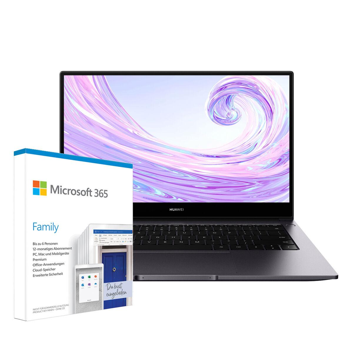 "NBB-Wochenangebote: z.B. Huawei MateBook D 14 (14"", FHD, Ryzen 5 3500U, 8GB/256GB) + Microsoft 365 Family (12 Monate, bis zu 6 Personen)"