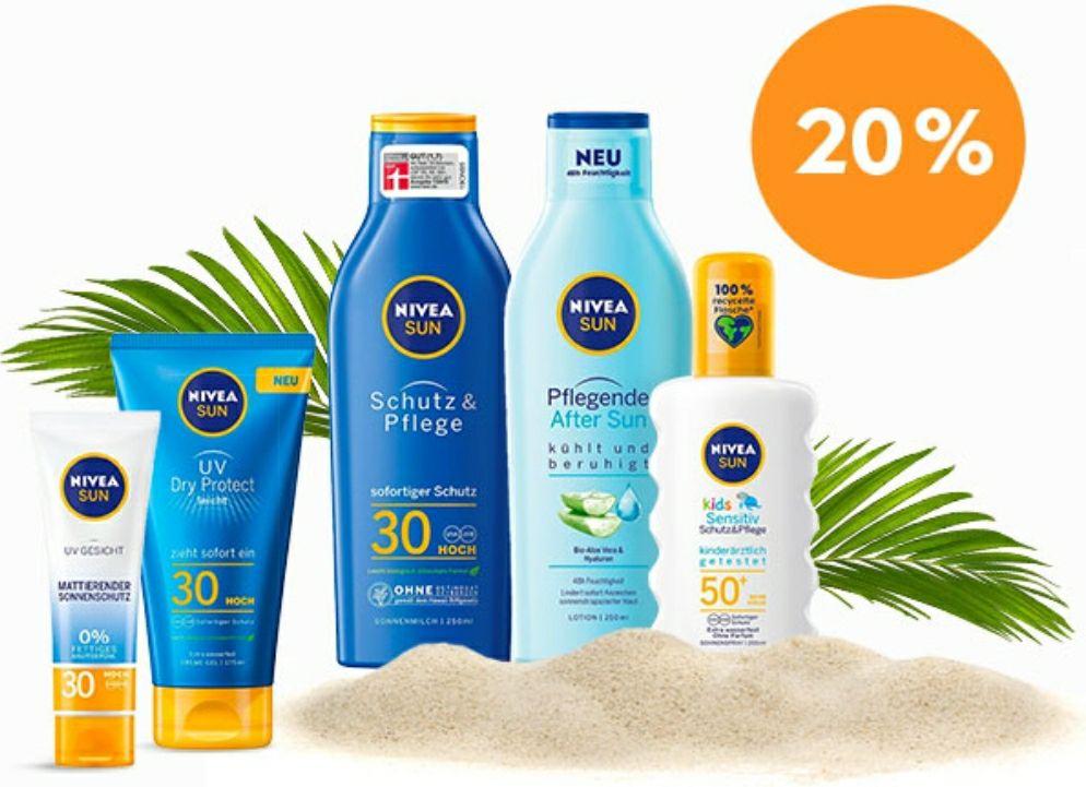 Nivea 20% Nachlass auf alle Sonnenpflegeprodukte
