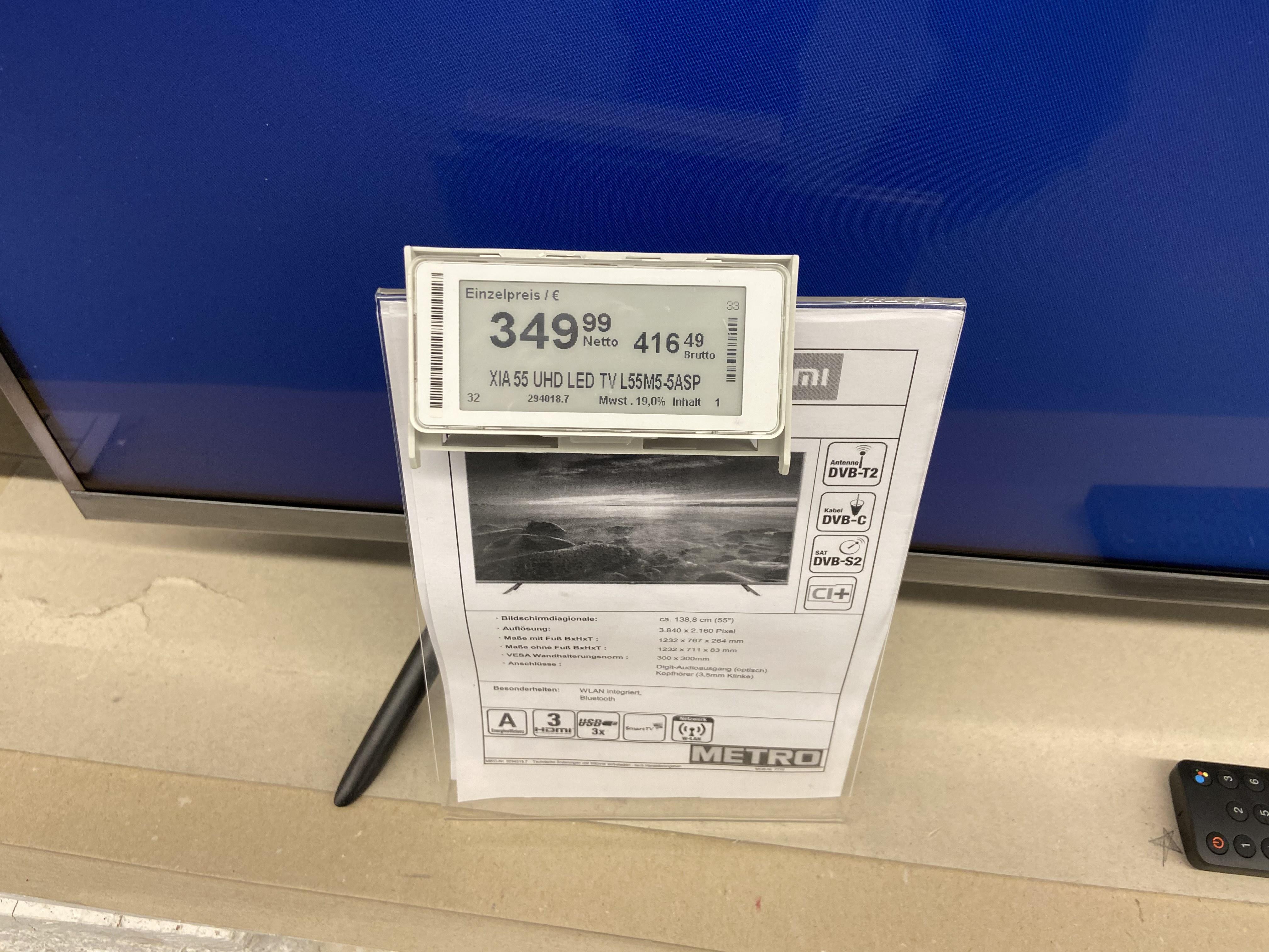 """[lokal] Xiaomi Mi Smart TV 4S 55"""" bei Metro - Extrasatte Sommerrabatte"""