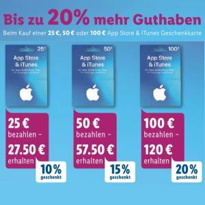 [Lidl & Rossmann] Bis zu 20% extra Guthaben für Apple AppStore & iTunes Geschenkkarten
