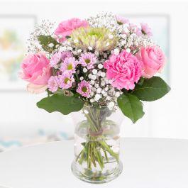 Blumenstrauß Pink (Nelken, Rosen, Chrysantheme, Stiellänge ca. 30 cm) inklusive Grußkarte