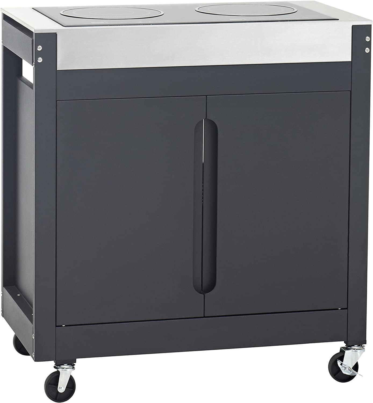 Barbecook Brahma K Outdoor-Induktionskochfeld (3400W, 2 Kochstellen, Schrank mit 2 Türen, 4 Rollen)