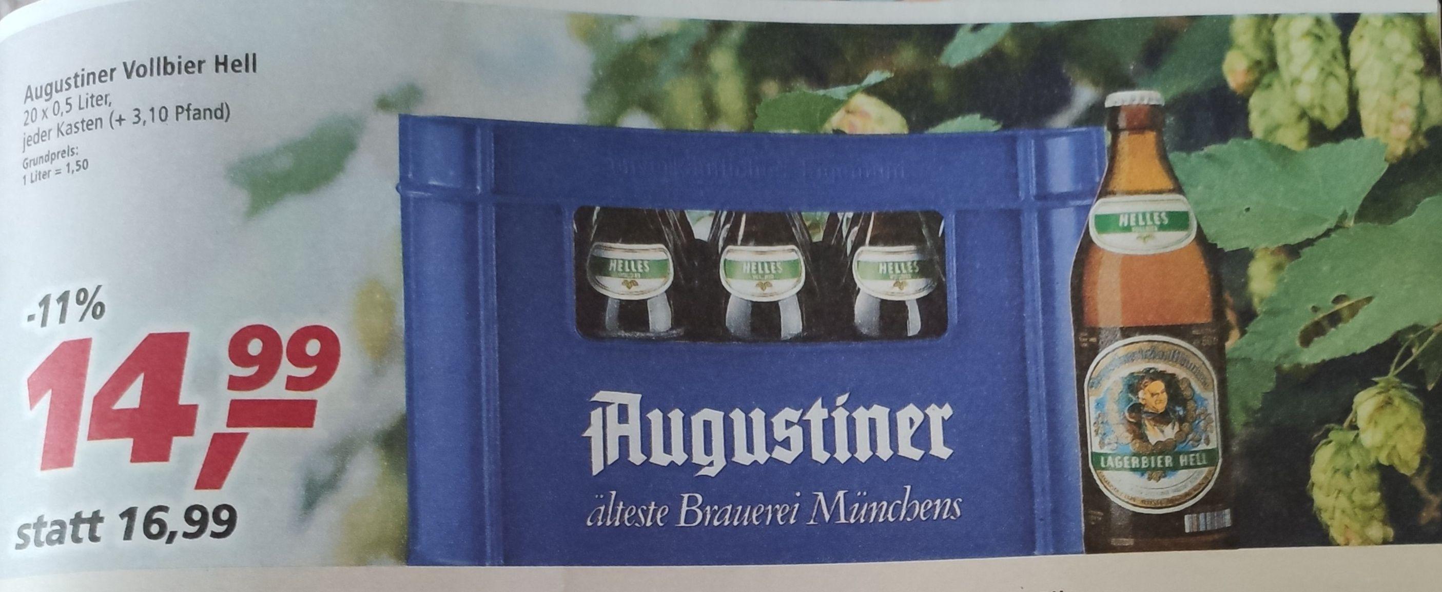[Real Markt evtl. lokal] Augustiner Helles Vollbier Kiste 20 x 0,5 Liter für 14,99€ Bier | Benediktiner 15,99 | König Ludwig 12,99€